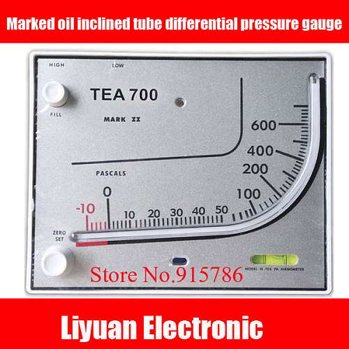TEA700 Marked oil inclined tube differential pressure gauge / square pressure gauges / micro pressure table