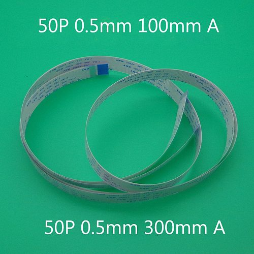 2PCS FFC FPC 50pin flat flexible cable 0.5mm pitch forward Width 25.5mm lenght 60mm 100mm 300mm Ribbon 50p Flex Cable Type A