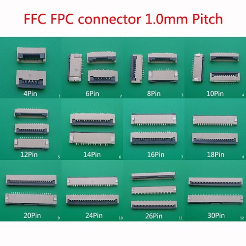 5pcs FFC FPC connector 1.0mm 4/6/8/10/12/14/16/18/20/24/26/30 Pin Flip Type Ribbon Flat Connector Bottom Contact