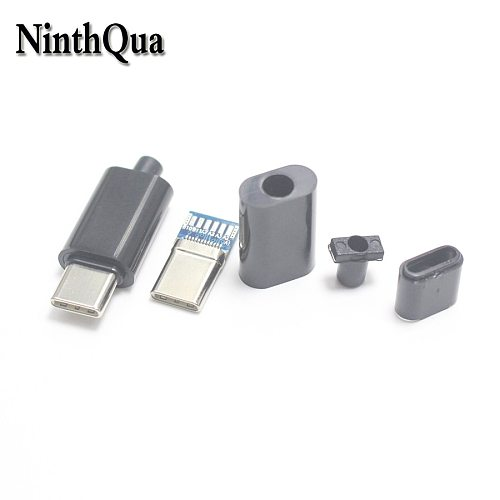 1set DIY 24pin USB-C USB 3.1 Type C USB-C Male solder Plug Connector SMT type with PC Board 56K Ohm Resistor