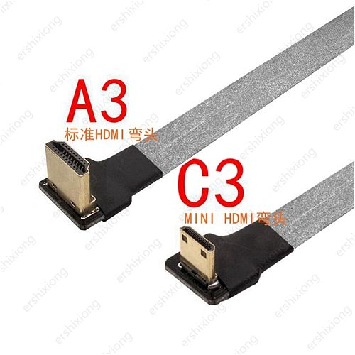 Anti-interference Mini HDMI-compatible Right Angled FPV Cable Male to HDMI Male 90 Degree FPC Flat Cable for Multicopter Aerial