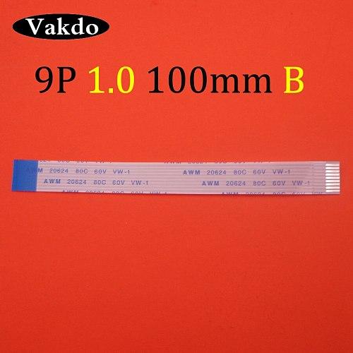 1pc 9pin FFC FPC flat flexible cable 1.0mm pitch 9 pin type B Length 100mm Ribbon Flex Cable AWM 20624 80C 60V VW-1