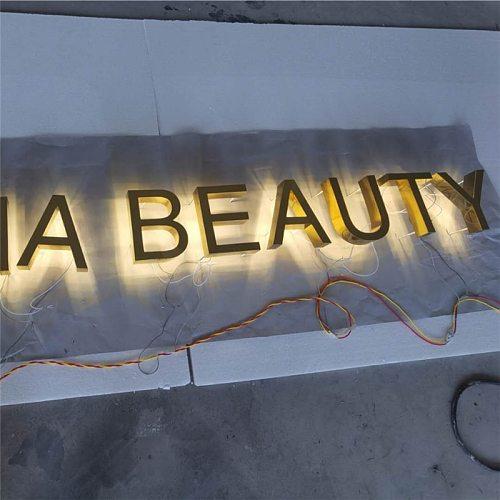 Gold color mirror polished stainless steel back lit  facade sign ,custom made outdoor halolit  shop front sign LED letters