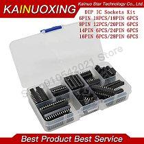 66pcs/lot DIP IC plug adapter power socket welding type kit 6,8,14,16,18,20,24,28 IC socket box brand new