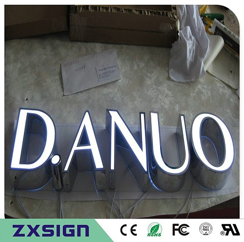 Custom Outdoor&Indoor advertising illuminated letters font for store signs, stainless steel acrylic frontlit led channel letters