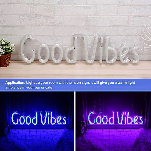 1pc  LED Display HD Text Digits Pattern Display Led Sign Good Vibes Letter Shape Wall Light Decoration LED Neon
