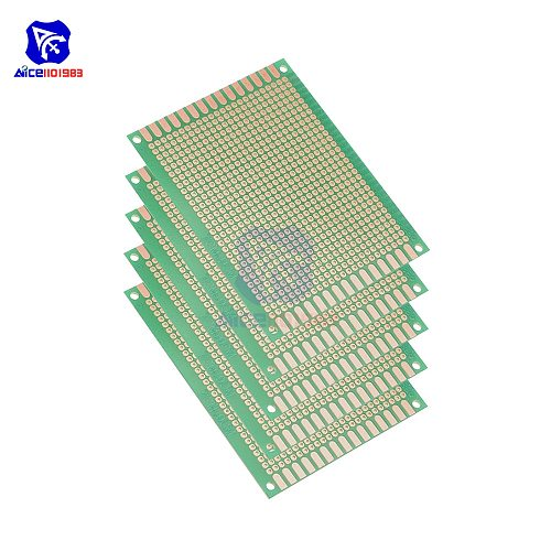 diymore 5PCS/Lot 7x9cm Single Sided Prototype Universal Printed Circuit Board for DIY Soldering Green PCB Board for Arduino