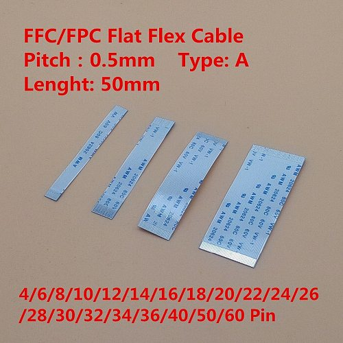 10PCS FPC Ribbon Flexible Flat Cable Pitch 0.5MM 50MM A-Type Same Side FFC Wire 4/6/8/10/12/16/20/30/40/50/60 pin Length 5cm
