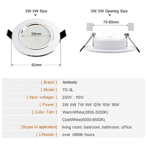 Led Downlight 3W 5W 7W 9W 12W 15W 18W AC 220V 230V 110V  Ceiling Bathroom Lamps Living Room Light Home Indoor Lighting