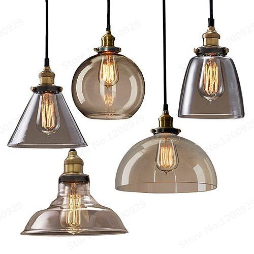 GZMJ Vintage Industrial Loft LED Pendant Light Glass Holder Loft Retro Bar Lamp Lampshade Light Home Decor Fixtures Hanging Lamp