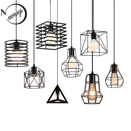 Retro loft industrial iron cage pendant lights E27 110V 220V LED black lamps for kitchen living room bedroom aisle restaurant