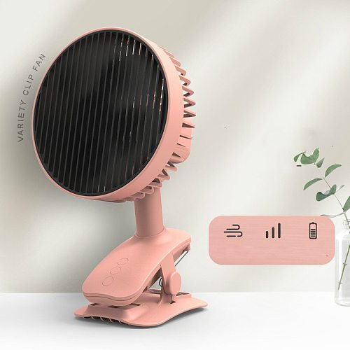 Low Noise Non-Brush Motor Fan Portable Desktop 120 ° Rotating Fan Clip USB Rechargeable Air Conditioner Room Office Air Cooler