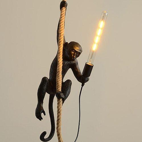 Resin Black White Gold Monkey Wall Lamp Pendant Light For Living Room Art Parlor Study Room Led Lights lustre With E27 Led Bulb