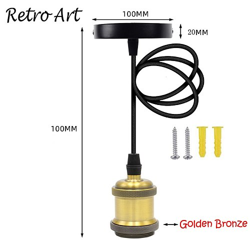 Simple Pendant Light Kit E27 Lamp Holder With Textile Cable Wire And Ceiling Rose lamp Cord Set