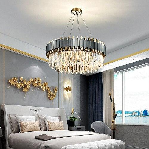 LED Art Deco Black Golden Stainless Steel Crystal Chandelier Hanging Lamp Lighting Lustre Chandelier Lighting Fixture For Foyer