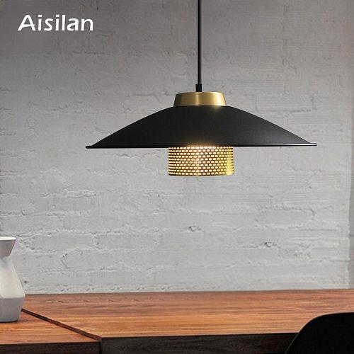 Aisilan Modern black lamp shade Nordic LED pendant light artwork for living room bedroom corridor study coffee bar AC85-260V 3W
