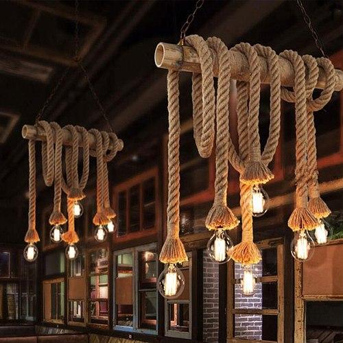 American Rustic Style Handmade Pendant Lamp E27 Lamp Holder Hanging Rope Pestaurant Room Lamp Vintage Rope Lamps