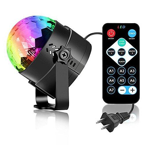 Dance Light 3w Disco ball DJ Lights for Parties 7 Color Sound Activated lamp forKids Birthday Gift Stage Home Holiday Party