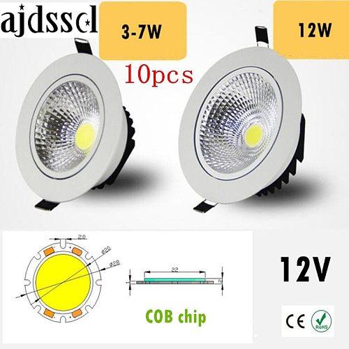 10PCS Super Bright Recessed LED Dimmable Downlight COB 3W 5W 7W 12W LED Spot light LED decoration Ceiling Lamp AC/DC 12V