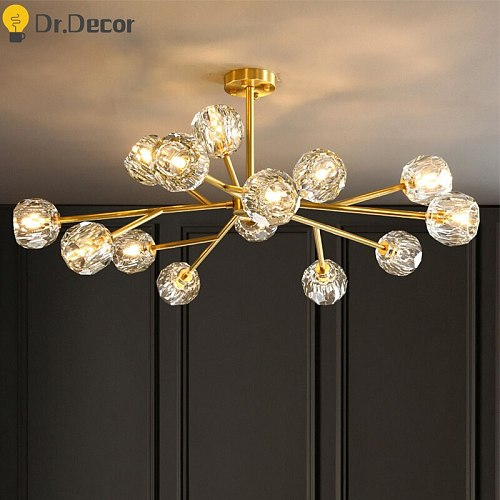 Modern Vintage Copper Crystal Chandelier Luxury Large Chandeliers Lustre Kitchen Molecular Bedroom Ceiling Chandelier Lighting