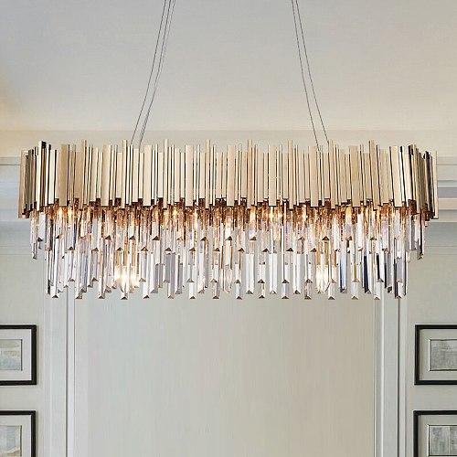Luxury Plated Gold Metal Led Pendant Lights E14 Lustre K9 Crystal Luminarias Dining Room Straight Pendant Lamp Lighting Fixtures
