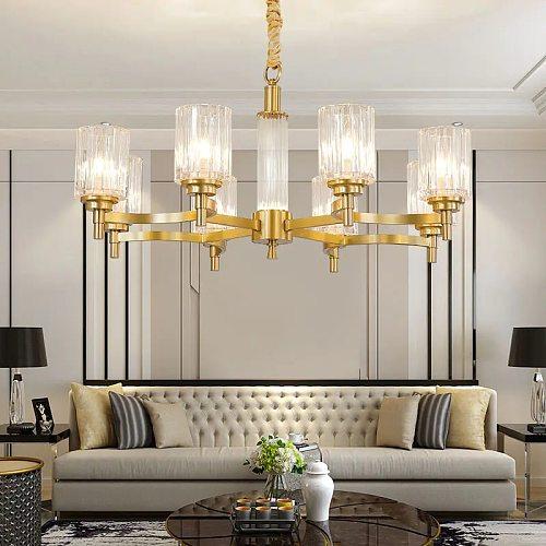 FLKL Modern Minimalist Style Crystal Chandelier Multi-light Source Brass Material E14 Living Room Lobby Household Lighting Chand