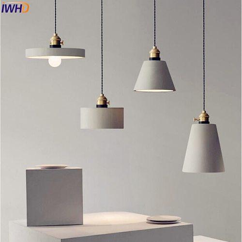 Nordic Cement LED Pendant Lights Fixtures American Creative Vintage Lamp Dinning Room Suspenion Luminaire Lighting Loft