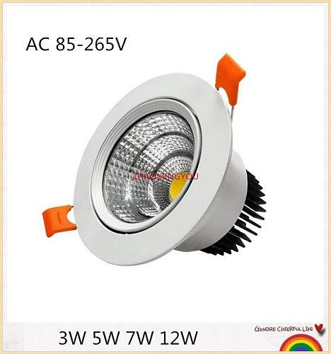 10PCS Dimmable white Led downlight light COB Ceiling Spot Light 3W 5W 7W 12W ceiling recessed Lights Indoor Lighting