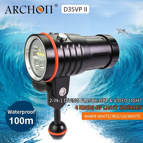 ARCHON D35VP II 4200lm dive photography light diving lighting lamp 18650 Li-ion batter dive lights Video Light+Red+UV+Spot lamp