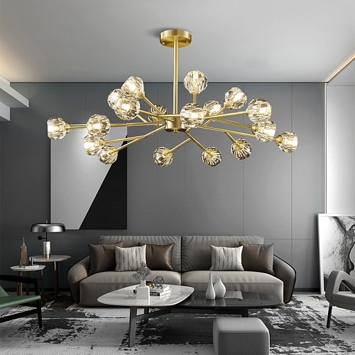 Luxury Crystal LED Chandelier Modern for the Living Room Loft Dining Golden Copper Hanging Ceiling Pendant Lamp Bedroom Lighting