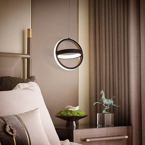Modern LED Pendant Light Home Dining Room Background Decor Bedroom Bedside Hanging Lamp Circle Triangle Square Droplight