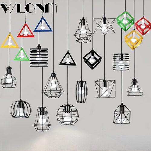 Retro Pendant Lamp LED E27 modern Iron cage pendant light vintage Loft pendant lamps For restaurant living room Hanging Lights