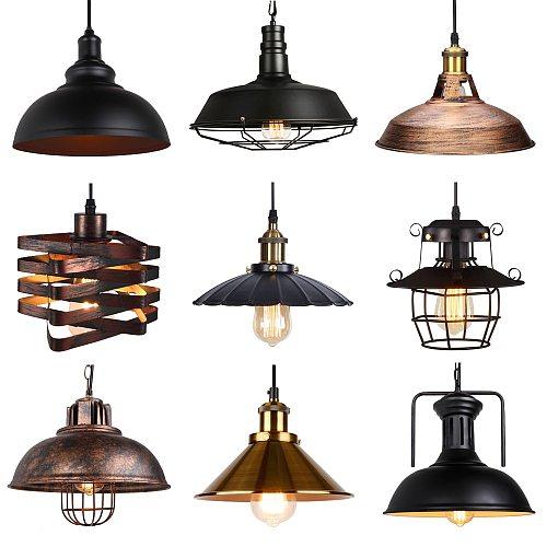 Vintage Loft Pendant Lights Nordic Retro Industrial Light Hanging Lamp Lighting Home Living Room Kitchen Decoration Lampshade