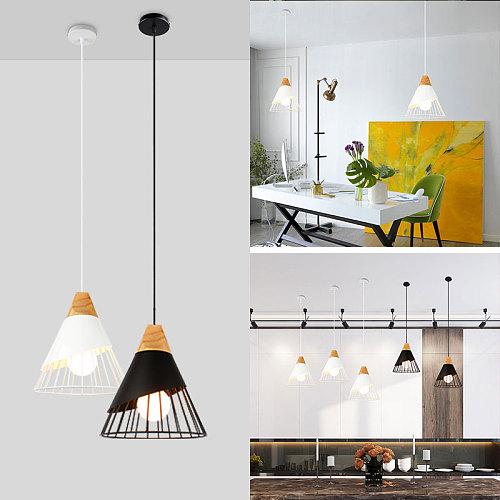 PHYVAL Pendant Lamp Modern E27 Pendant Lights Wood  For Bedroom Hanging Lamp Nordic Aluminum Lampshade LED Bulb Kitchen Light