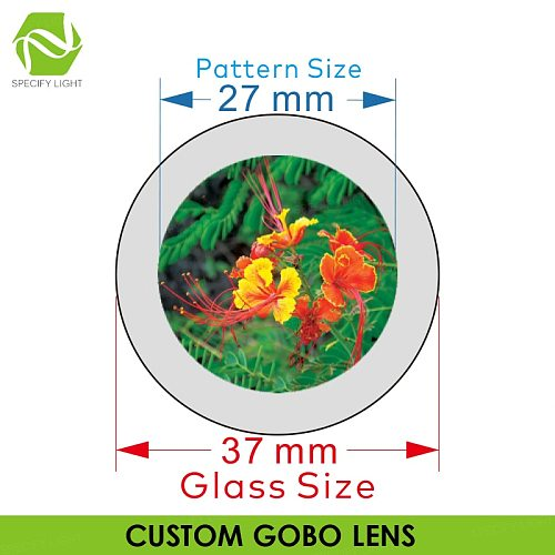 Customized Logo Projector Glass Lens 37mm Diameter Shop Mall KTV Bar Text Pattern Gobo Advertising Lighting Projection