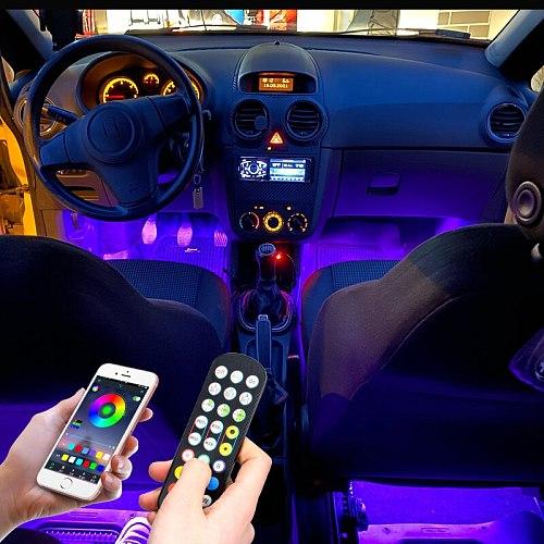 New Auto Car Ambient Light LED  Optic Fiber Foot Atmosphere Lights RGB Color APP Optical Neon Decoration Interior Light Strip