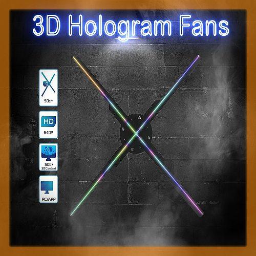 3D Hologram Fan Led  Projector Lights Advertising Display 1080 HD Indoor Mini Wifi Logo Lamp Shop Decoration