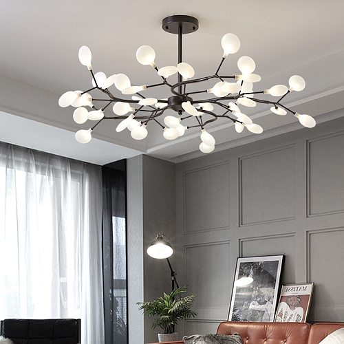 Nordic Firefly LED Chandelier Stylish Tree Branch Iron Black Luster Ceiling Lamp Home Decoration for Living Room Bedroom Kitchen