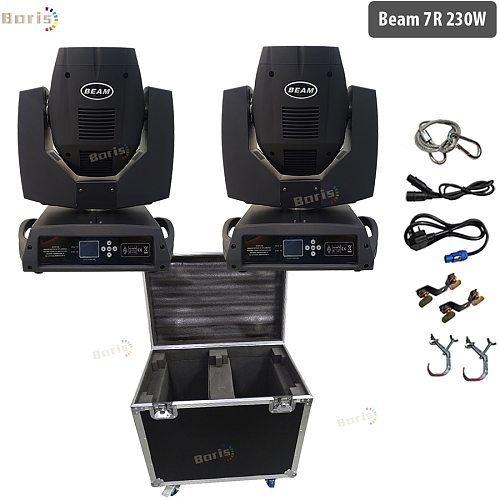 No tax Flycase 2x Beam 230w 7r Beam moving head Light High Power Sharpy Lyre 7r Strong Beam Light For Party Disco DJ Light Stage
