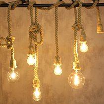 Hemp Rope Lights Vintage Countryside pendant lamp Living Room Kitchen Hanging Lamp Lighting Home Decor pendant light fixtures