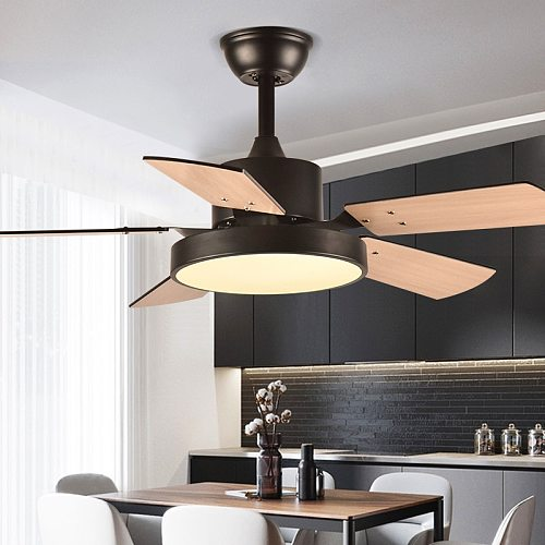 Ceiling Fan Lamp 46  for Low Floor Storey Remote Control Included Plywood Blade 64W LED 3 Speeds Timing Function