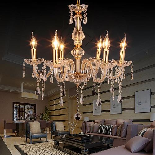 Yonntech 6 lights Gold Crystal Chandelier Living Room Cristal Decoration Luxury Crystal Light Fashion
