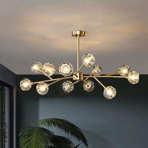 Luxury Crystal Chandelier for Living Dining Room Kitchen Gold Copper Molecular Modern Designer Led Ceiling Lamp Lighting Fixture