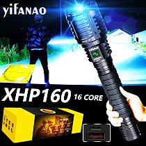 Most Powerful LED Flashlight XHP160 16 Core Usb Rechargeable Tactial Flashlight Zoom Hunting Torch Xlamp As 10000mAH Power bank