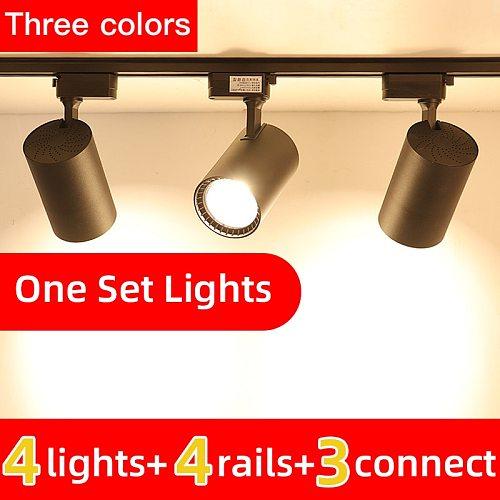 Whole Set Led Track Light 12/20/30/40W COB Track Lights Aluminum Rails Lighting Spot Light Fixture For Kitchen Living Room Home