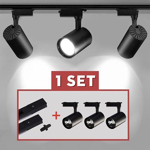 Whole Set Led Track Light COB Track Lamp 12/20/30/40W Rail Spot Led Lighting Spotlight Fixture For Clothing Shop Store Home 220V