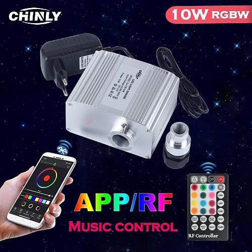 Bluetooth Control Twinkle 10W Fiber Optic Light Engine Smartphone Music Control with RF controller LED Lights Source Deiver NEW
