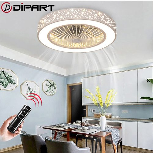 Modern Simple remote control Invisible Ceiling Fan Light Crystal Decorative  LED Lghting Dimmable Bedroom office Fan Lamp