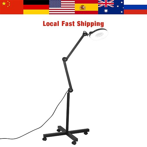 22W 5X Magnifying Magnifier Floor Stand Lamp Skincare Beauty Cosmetic Makeup Tattoo Manicure Lighted Lamp 6000-6500K