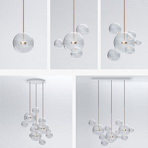 LED Postmodern Iron Glass White Bubbles Chandelier Lighting Lamparas De Techo Suspension Luminaire Lampen For Dinning Room